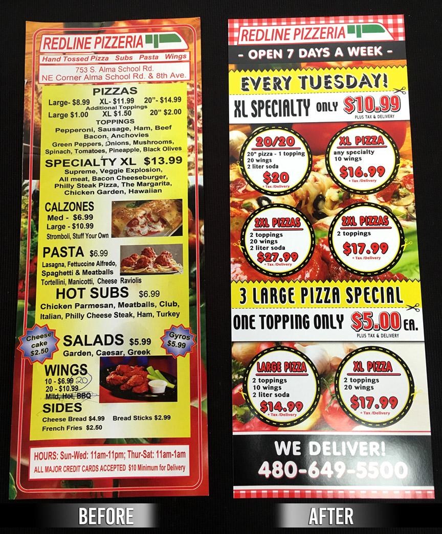 redline pizza printed-advertisement flyer
