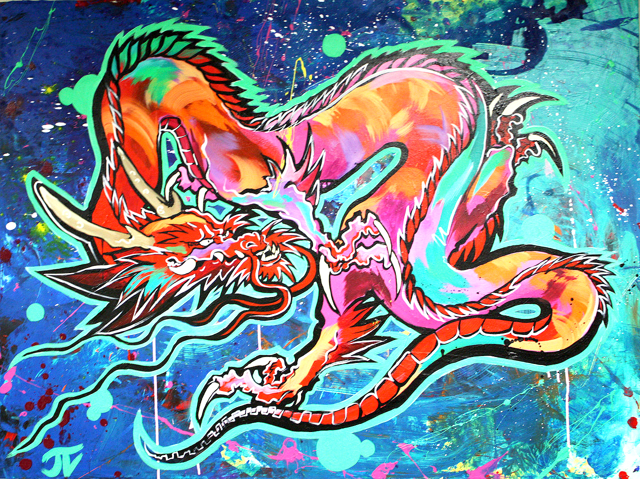 chineese dragon pop culture design painting