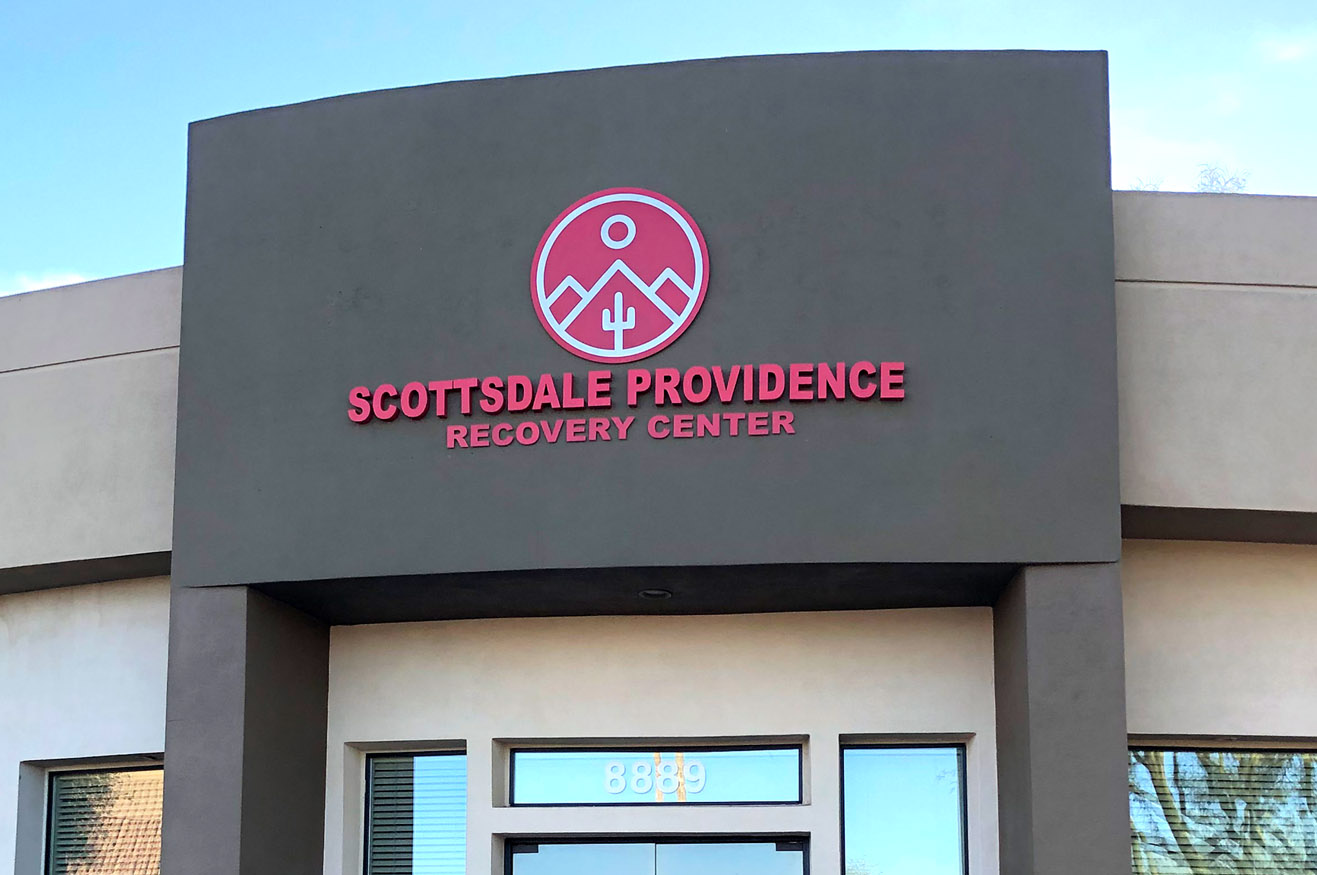 Painted Aluminum Reverse Pan Channel Sign for Scottsdale Providence Recovery Center